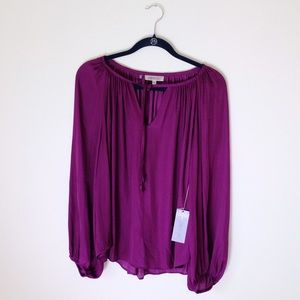 "Large ""Fun Plum"" Jennifer Lopez Peasant Blouse NWT"